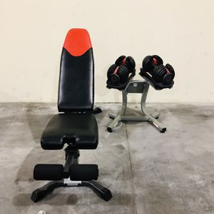 Bowflex Set with 52.5lbs dumbbells, Stand and Bench for Sale in El Monte, CA