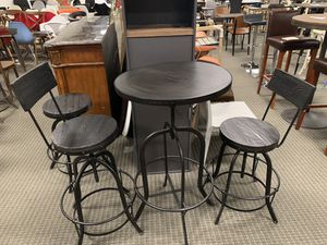 3pc black rustic finish bar table and barstools set for Sale in Alexandria, VA