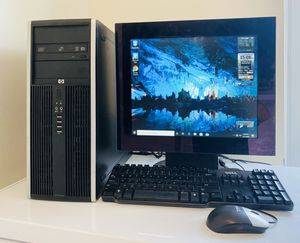 FAST HP Core2 Duo @3,0 GHz, Dual Display Desktop Computer. 160GB HDD, 4GB RAM, DP Display Port, HD Graphics, 10 USB Port, Monit/Keyb/Mouse, Win10 Pro for Sale in Davie, FL