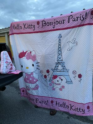 Hello kitty bath curtain a pillow Paris for Sale in Tampa, FL
