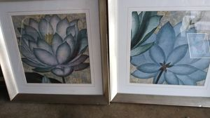 2 framed flower squared pictures for Sale in Upland, CA