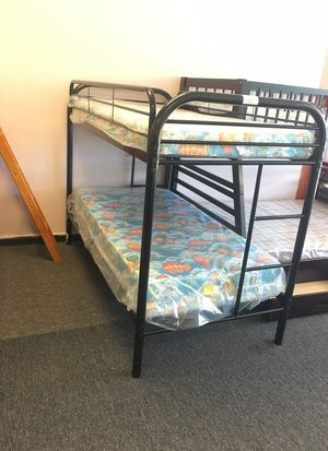 Black Metal twin over twin bunk bed with mattress for Sale in Nashville, TN