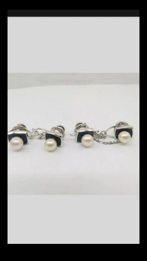 Lot 4pcs ESTATE STERLING SLIVER PEARL TIE TACKS 17.5 GRAMS genuine pearl size 7MM for Sale in Richmond, CA