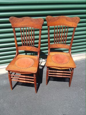 Beautiful Antique Chairs with tacked leather seats for Sale in Hendersonville, NC