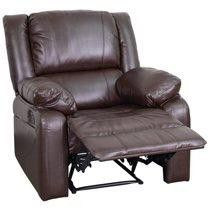 2 Brown leather recliners with cover and wooden TV stand table for Sale in Aliquippa, PA