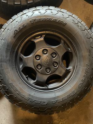 4 all terrain 16 inch rims Chevy rim and tire $300 obo for Sale in Valley View, OH