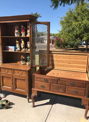 China hutch cedar chest buffet table book shelves for Sale in Phoenix, AZ