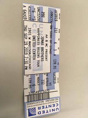 One Jonas Brothers ticket for September 19, 2019 concert at the United Center for Sale in Orland Park, IL