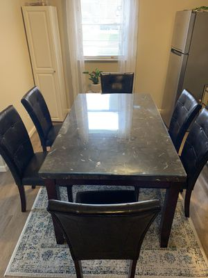 Dining room table, and 6 chairs + glass! for Sale in St. Louis, MO