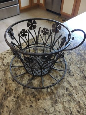 Large Metal coffee cup/ plant holder /decor for Sale in Gilbert, AZ