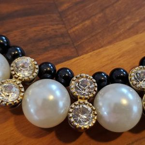 Classy Black & White pearl Necklace on a black satin ribbon for Sale in Bloomington, IL