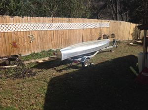 15 foot aluminium square back canoe and trailer $750 for Sale in Kingsport, TN