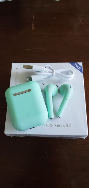 Airpods i12 TWS Bluetooth 5.0 Teal for Sale in Orlando, FL