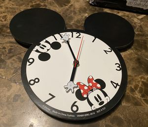 Disney Mickey Mouse and Minnie Mouse Shaped Wall Clock: It's always time for Disney! This charming clock is shaped just like Disney's iconic mascot for Sale in West Dundee, IL