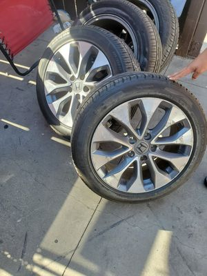 Selling 17 inch Honda Rims with tires 75% good tread...350all 4 for Sale in Long Beach, CA