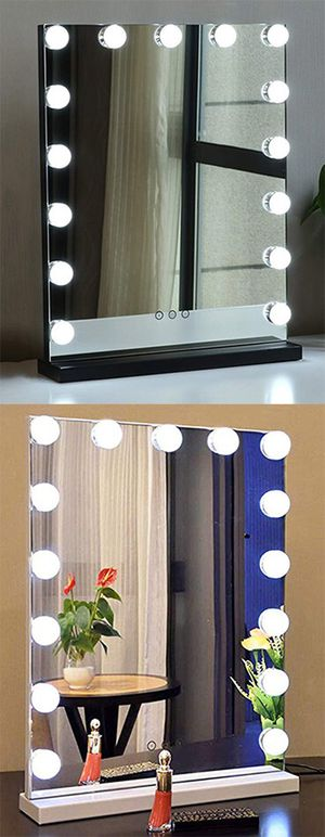 """$110 NEW Vanity Mirror w/ 15 Dimmable LED Light Bulbs Beauty Makeup 16x20"""" (White or Black) for Sale in Whittier, CA"""