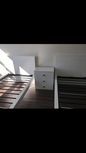New 2 twin beds + one small dresser + organization (the box's included) for Sale in Watertown, MA