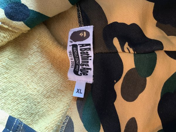 Bathing ape (BAPE) shark hoodie - yellow camo