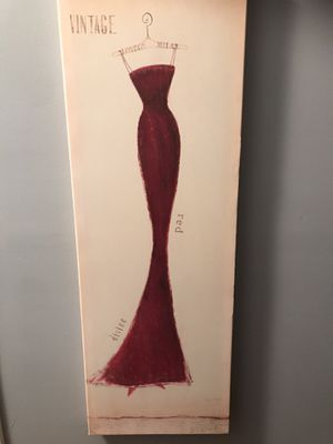 Vintage style dress on canvas 3 ft tall by 1 ft wide for Sale in Bristol, CT