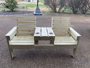 Double Seat Wood Bench with Stainless Steel Cup Holders for Sale in Hendersonville, TN