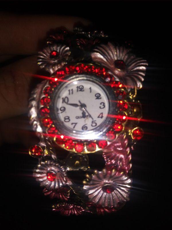 Vintage red flower brass watch