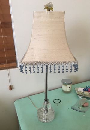 Decorative lamp with beaded shade and clear glass bottom for Sale in Santa Monica, CA