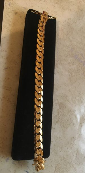 14k thick layers of real gold over stainless steel best quality guarantee chains bracelets rings Cuban links available never turns colors for Sale in Miami, FL