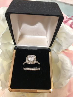 14K white gold plated over sterling sterling Sapphire CZ Promised/Engagement Ring Sz6 for Sale in Houston, TX