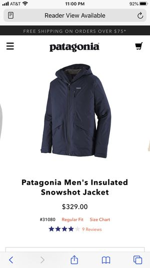 Patagonia men's insulated snowshot jacket. ( size large ) ( color navy ) for Sale in Las Vegas, NV
