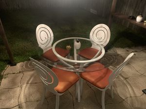 Brand new metal outdoor dining set Absolutely gorgeous with orange water resistant fabric for Sale in Tampa, FL
