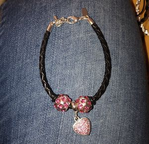 Black Bracelet With Pink Charms for Sale in Columbus, OH