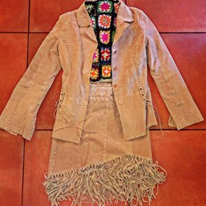 Boho festival vintage genuine leather suede fringe 2 piece matching set for Sale in Irvine, CA