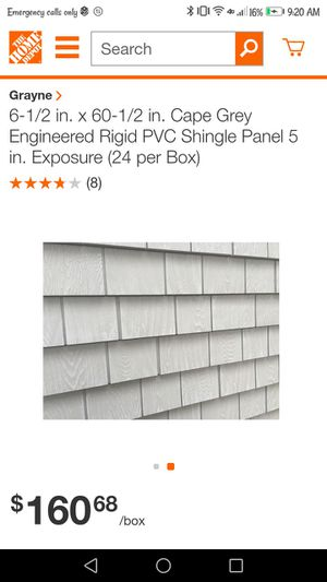 GRAYNE 6-1/2 IN. X 60-1/2 IN. CAPE GREY RIGID ENGINEERED SHINGLE PANELS SIDING 5 IN.EXPOSURE FOR HOMES AND RVS for Sale in Fresno, CA