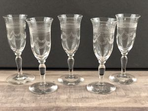 Antique 1930's Needle Etched Crystal Shot Glasses for Sale in Merritt Island, FL