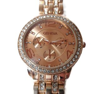 Womens Geneva Rose Gold Dial Luxury Watch Bling Statement Large NEW w/o Tags for Sale in Temecula, CA