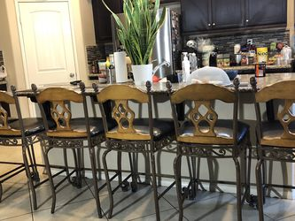 set of 6 metal heavy counter height bar stool very sturdy durable from ashley for Sale in Corona,  CA