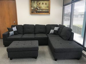 Charcoal linen sectional couch brand new in packaging for Sale in Vancouver, WA