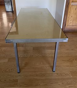 Solid Modern Glass & Metal Oversized Desk With Drawer for Sale in Beverly Hills,  CA