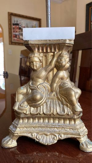 Antique cherub base with marble piece and metal stand with threads for lamp or Decour or toilet paper holder whatever else you want to use it for for Sale in West Palm Beach, FL