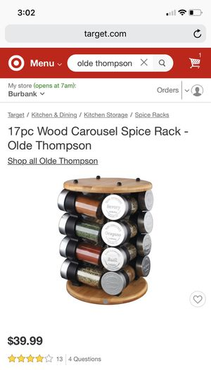 17pc Wood Carousel Spice Rack - Olde Thompson for Sale in Sylmar, CA