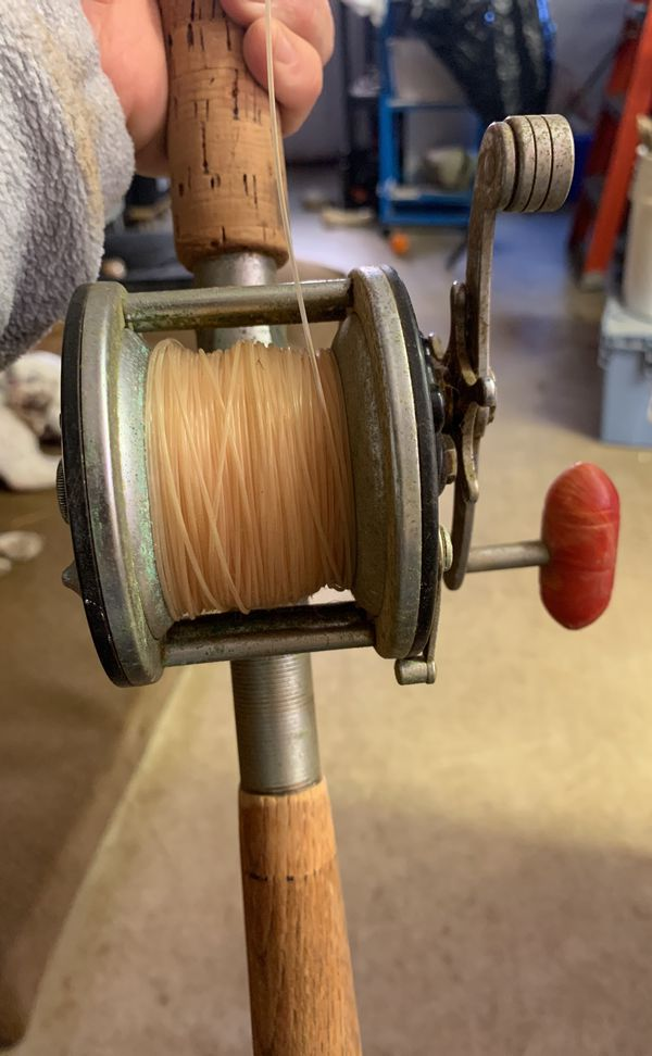Penn 60 Long Beach Fishing Reel with Vintage pole Wooden Handle