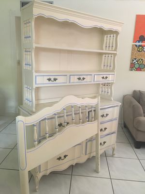 White and Blue Dresser, Bookcase and Twin Bed Set for Sale in Fort Lauderdale, FL