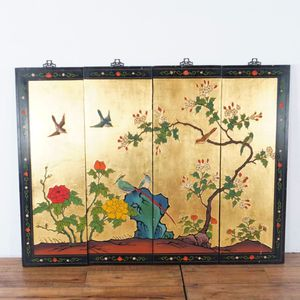 Vintage Gold and Lacquered Wood Chinese Four-Panel Wall Screen (1022989) for Sale in San Bruno, CA