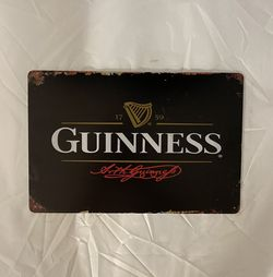Guinness Beer Vintage Antique Collectible Tin Metal Sign Wall Decor for Sale in Fontana,  CA
