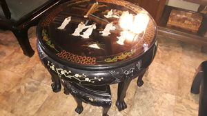 Chinese black lacquer handmade coffee table with pearl inlay good condition 800 for Sale in Houston, TX