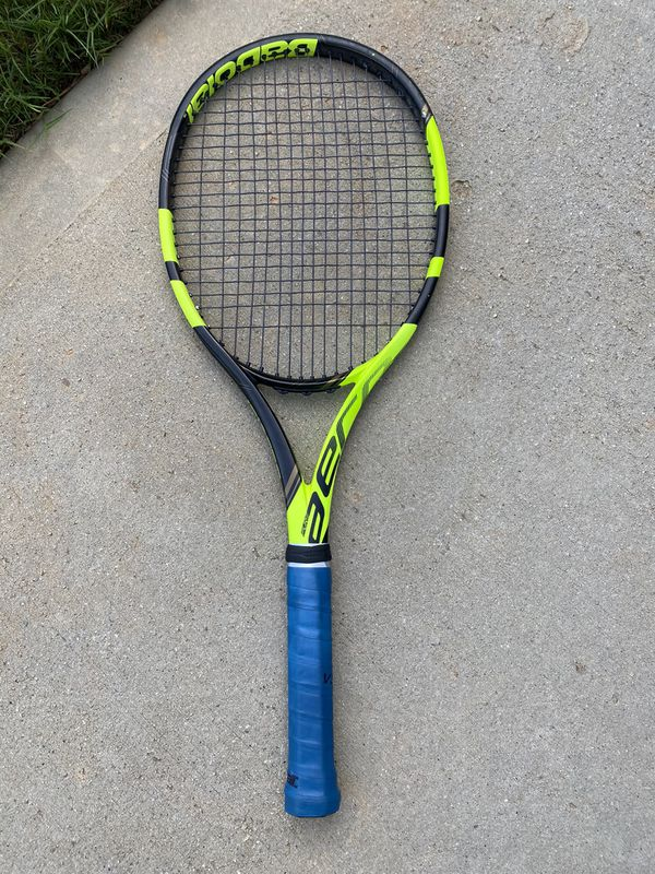Babolat Aero Pure 4 3/8 grip size, weight 11.3 oz. RPM Blast strings @ 55 tension (new strings)