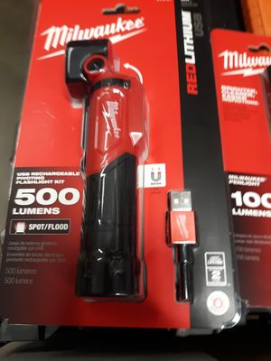 Milwaukee 500 lumen USB rechargeable flashlight. for Sale in Pensacola, FL