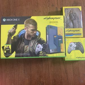 Xbox One X Cyberpunk 2077 Limited Edition Bundle (1TB) with controller and action figure for Sale in Hermosa Beach, CA