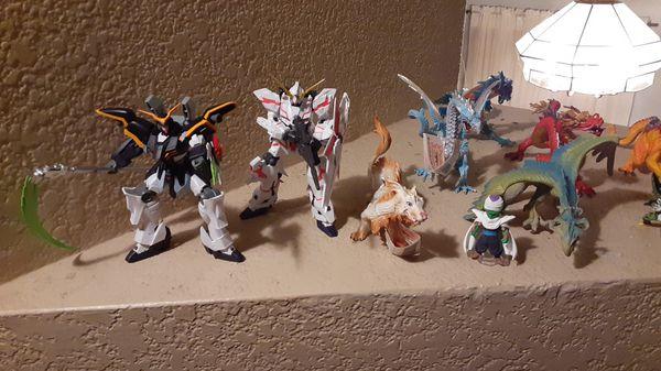 Dragon ball z, gundam wing, and safari dragon collection