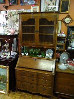 Vintage antique drop front secretary hutch desk cabinet for Sale in La Mesa, CA